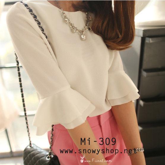 [[พร้อมส่ง]] [Mi-309] Mimius++เสื้อ++เสื้อสีขาวแขนระบาย