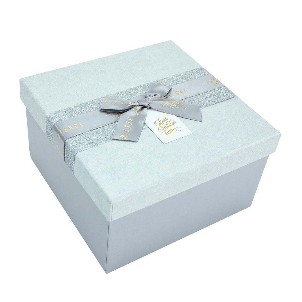 กล่องสำเร็จรูป สี่เหลี่ยม สีเทา Best Wishes (เล็ก)