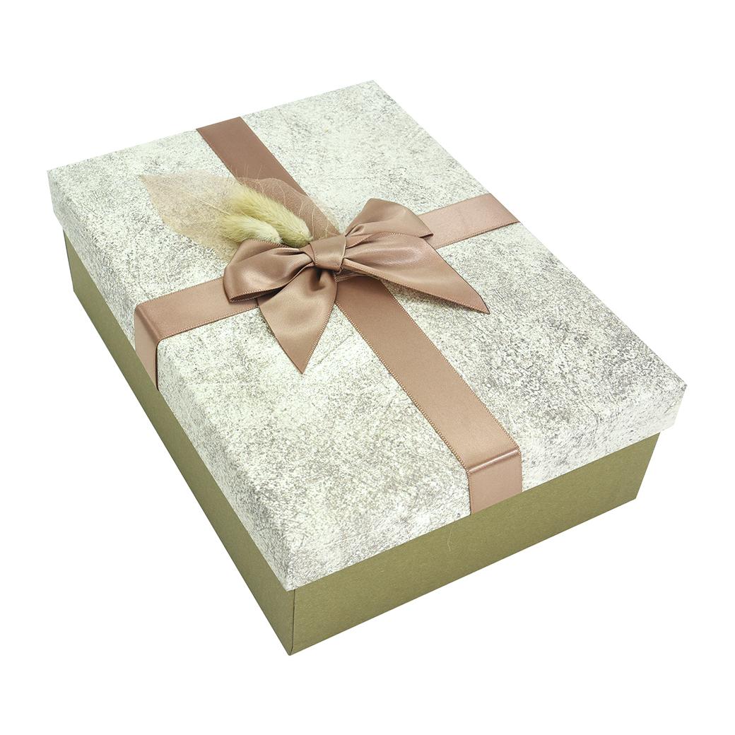 กล่องสำเร็จรูป สี่เหลี่ยมผืนผ้า สีน้ำตาลทอง (ใหญ่)