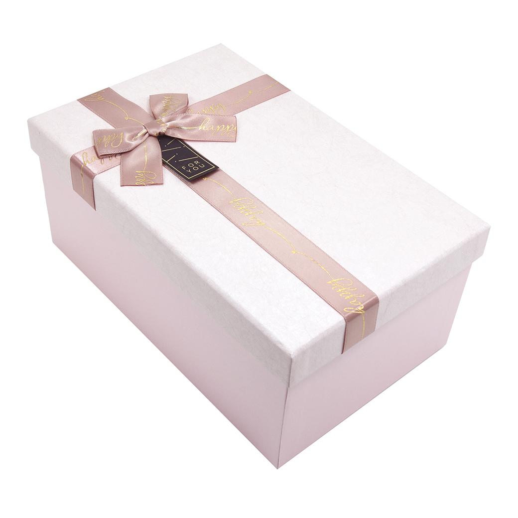 กล่องสำเร็จรูป สี่เหลี่ยมผืนผ้า สีชมพู For You (กลาง)