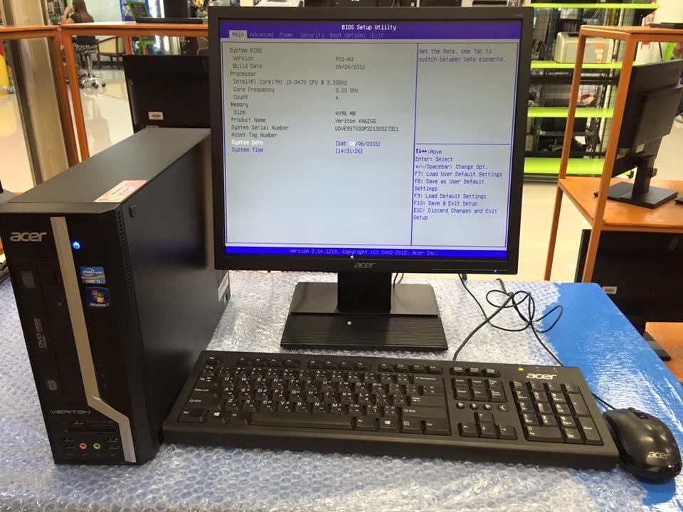 """ครบชุด Acer veriton X4620G Core i5-3470@3.20GHz พร้อมจอ LED 19"""" Square"""