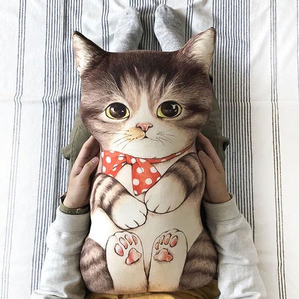 ผ้า cotton Linen สำหรับทำตุ๊กตาน้องแมว ขนาดผ้า 75 x 45 cm.(สีน้ำตาล)