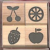 Stamp Set ชุดผลไม้ ขนาดทั้ง set 4.3*4.3 cm.
