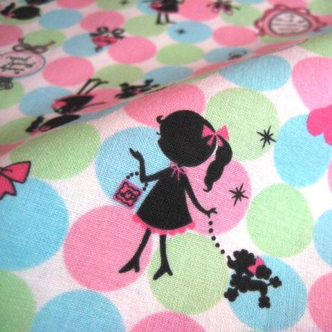 **Sales** ผ้า cotton ญี่ปุ่น ลาย lovely girl Collection โทนสี ชมพู-ฟ้า-เขียว ขนาด 1/4 เมตร (50*55 ซม.)