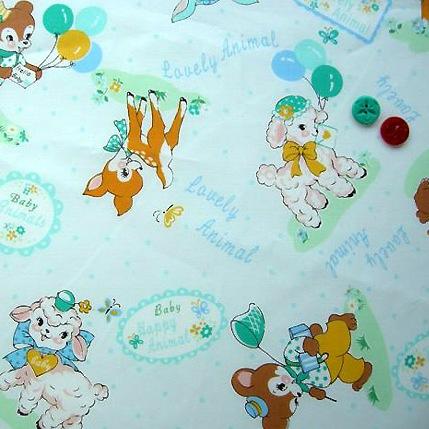 ผ้า cotton ของ A-TWO ลาย Gift for Baby โทนฟ้า ขนาด 1/4 เมตร (50*55 ซม.)