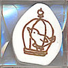 Stamp ลายนกในกรง ขนาด 3.2*3.2 cm.