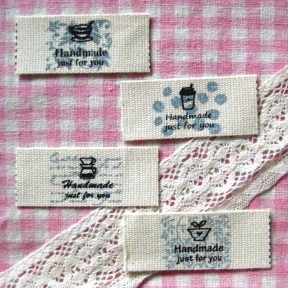 ป้ายผ้า Handmade Tea&Coffee รวม 4 ลาย หน้ากว้าง 2.5 cm. ราคา/set