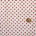 ผ้า cotton & linen ญี่ปุ่น ลายจุดแดงพื้นขาว 4 mm. ขนาด 1/9 เมตร (33*45 ซม.)