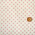 ผ้า cotton & linen ญี่ปุ่น ลายจุดชมพูพื้นขาว 4 mm. ขนาด 1/9 เมตร (33*45 ซม.)