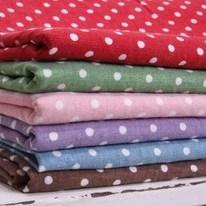 ผ้า cotton linen ลายจุด 4 mm. ขนาด 1/9 m. (33 x 45 ซม.) ของจีน - เหลือแต่สีเขียว