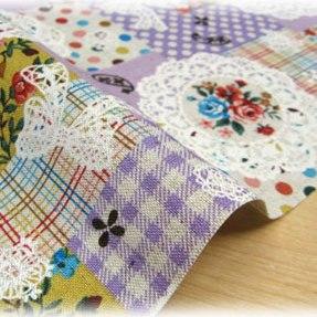 ผ้า cotton linen ญี่ปุ่น ลาย patchwork ดอกพื้นม่วง ขนาด 1/4 m. (50*55 ซม.)
