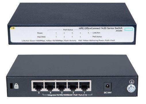 HPE 1420 5G PoE+ (32W) Switch (4 x PoE+ ports)