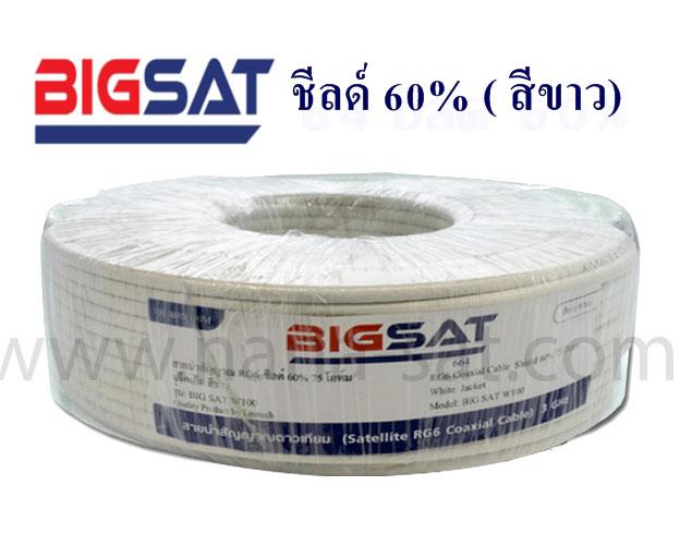 สาย RG-6 BIGSAT 20 เมตร ชีลด์ 60% (สีขาว)