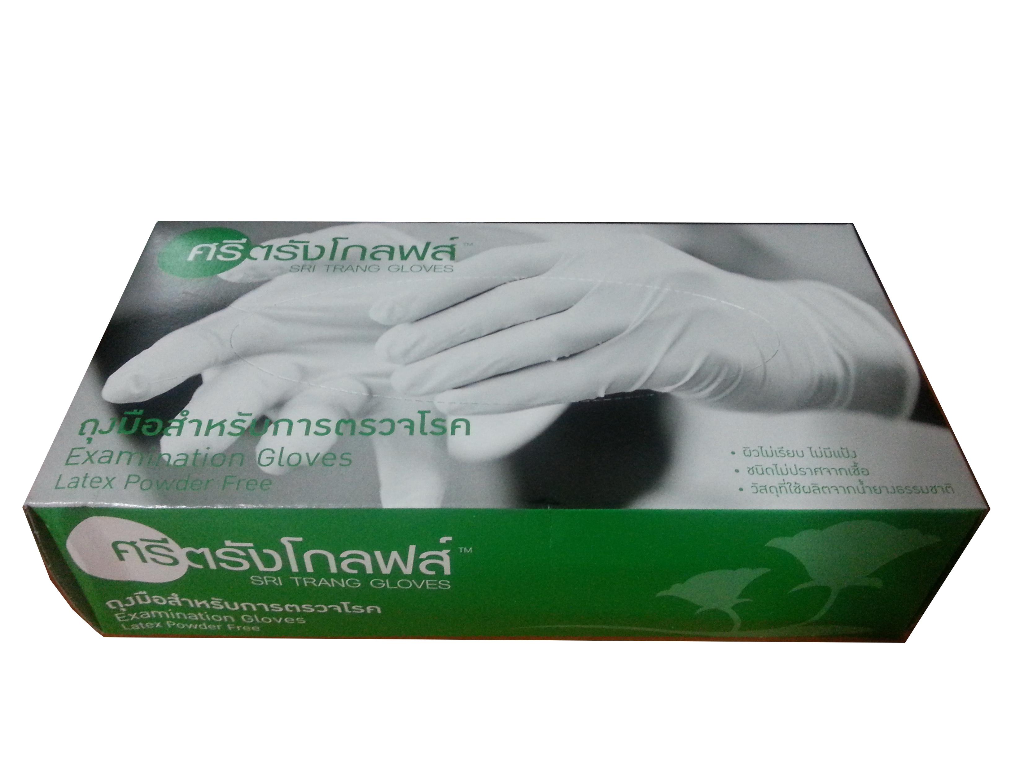 ถุงมือ ศรีตรังโกฟล์ ชนิดไม่มีแป้ง (กล่องสีเขียว)