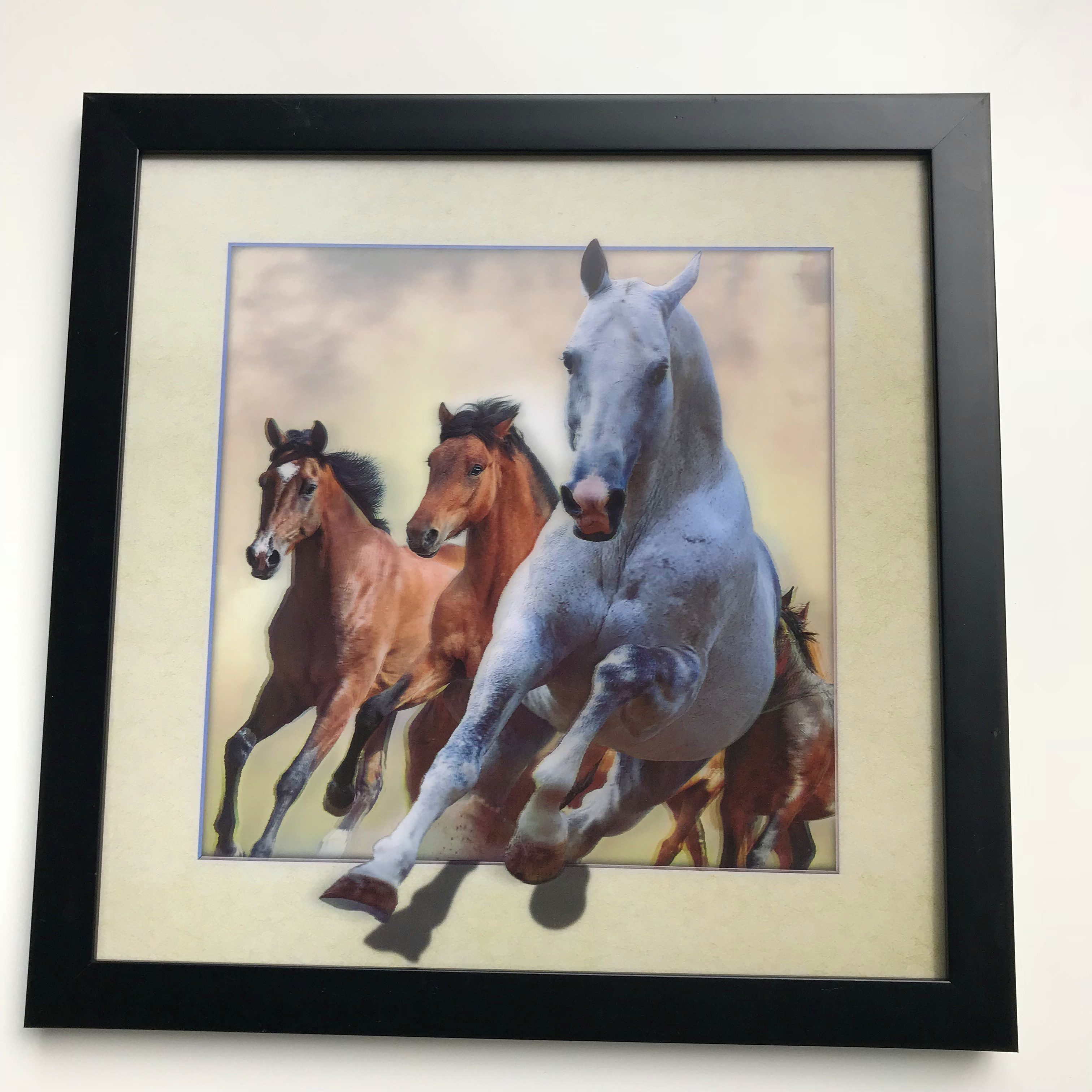 5D lenticular picture of horse with MDF frame for home decoration in stock and custom