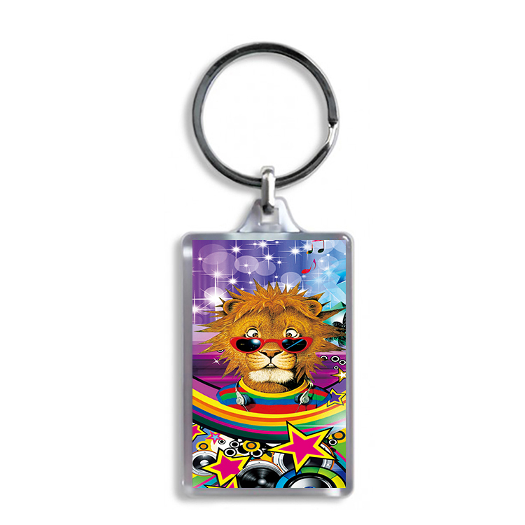 Two sides Lenticular keychain with flip effect design of cat and dogfor promotion
