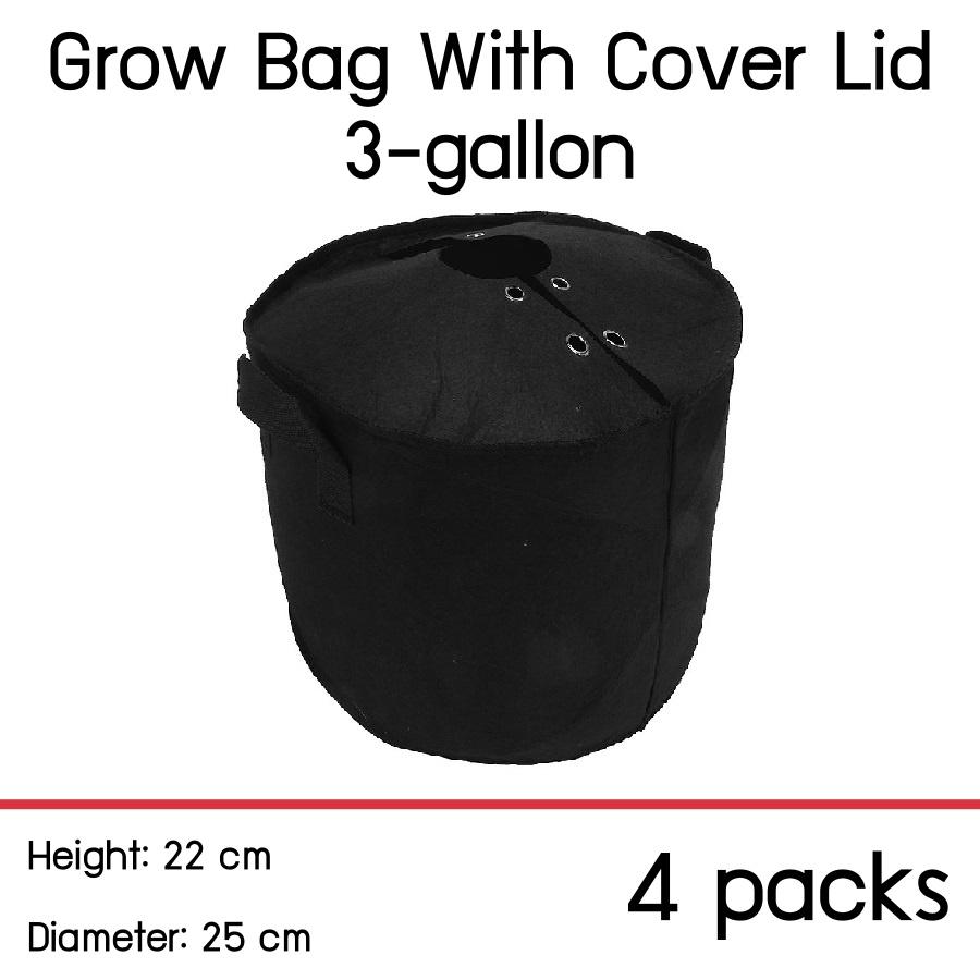 แพ็ค 4! ถุงปลูกต้นไม้แบบผ้า ขนาด 3 แกลลอน สูง 22ซม เส้นผ่าศูนย์กลาง 25ซม พร้อมฝาปิดเก็บความชื้นในดิน Smart Grow Bag 3-Gallon Height 22cm Diameter 25cm Fabric Pot with cover