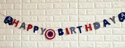 ธงราววันเกิดกัปตันอเมริกา Happy Birthday Banner, Captain America