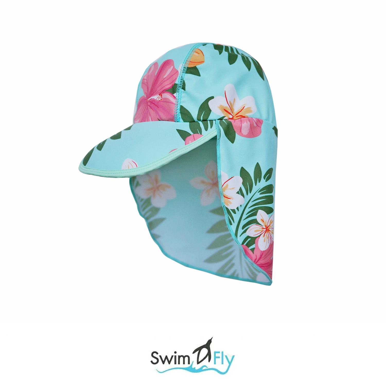 หมวกว่ายน้ำแบบบังแดดบริเวณหน้าและคอ ลายดอกไม้