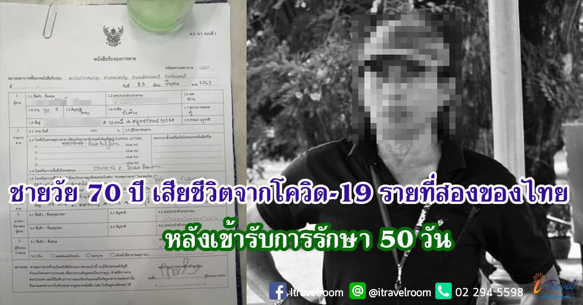 ชายวัย 70 ปี เสียชีวิตจากโควิด-19 รายที่สองของไทย หลังเข้ารับการรักษา 50 วัน