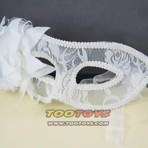 หน้ากากแฟนซีรุ่น White Hi-so - สีขาวประดับด้วยดอกไม้ด้านข้าง
