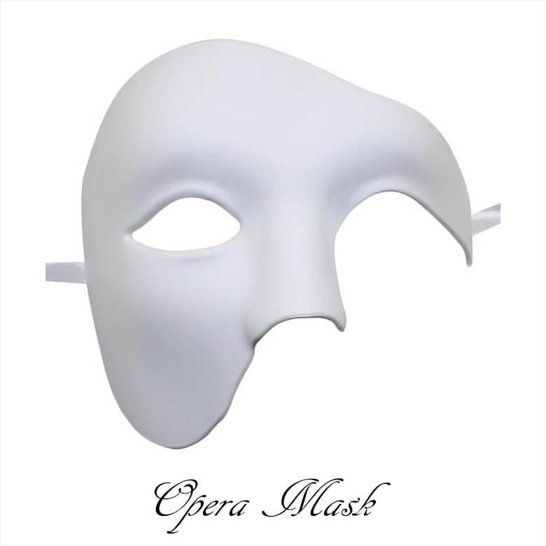 หน้ากากแฟนทอมโอเปร่าอย่างดีสีขาว