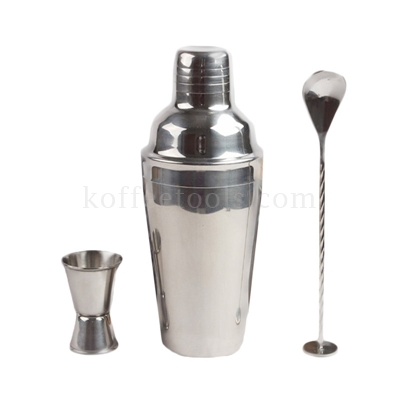 ชุด shaker cocktail 550 ml (shaker , jigger , bar spoon)