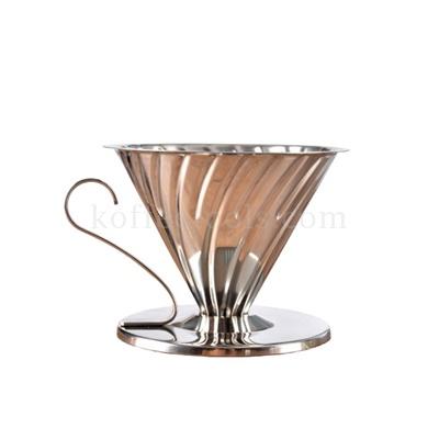 กรวยดริปสแตนเลสสีเงิน (2-4 cups)