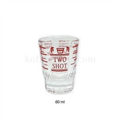 แก้วตวง two shot ขีดแดง ก้นหนาเหลี่ยม