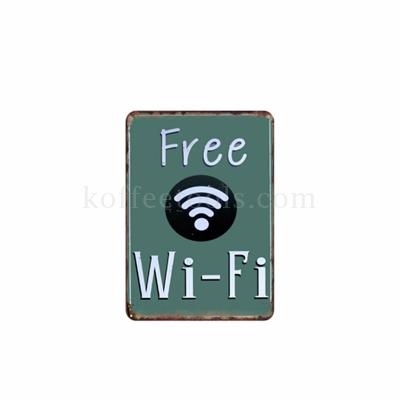 ป้ายสังกะสี ลาย Free wifi