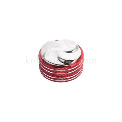 แทมเปอร์มาการองสแตนเลสใบพัดกังหัน สีแดง/เงิน 58 mm