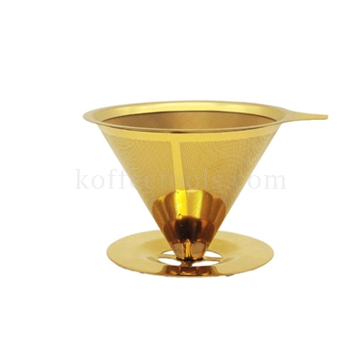 กรวยดริปกรองกาแฟสแตนเลสสีทอง ordinary (1-4 cup)