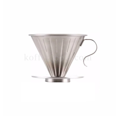 กรวยดริปกาแฟสแตนเลสสีเงิน (1-2 cup)