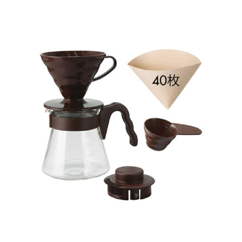 ชุดดริป Hario 02 สีน้ำตาล / HARIO(034)V60 Coffee Server 02 Set Chocolate Brown/VCSD-02CBR