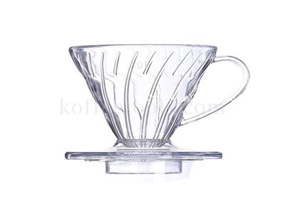 กรวยดริปกรองกาแฟพลาสติกใส V02 + แถมกรองผ้า+ช้อนตวง