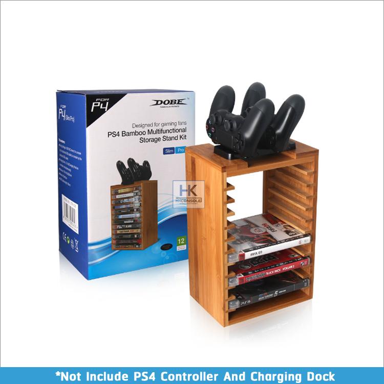PS4 Storage Stand Kit : ชั้นวางแผ่น PS4 วัสดุเป็นไม้ สวย ดูดีมีราคา พร้อมพื้นที่วางแท่นชาร์จจอยด้านบน