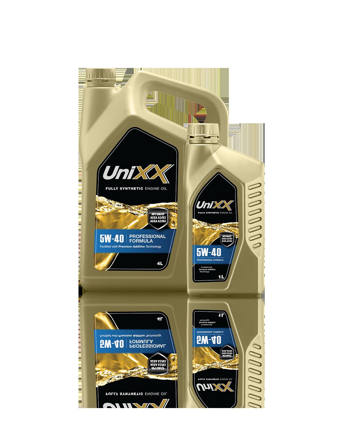 UniXX 5W-40 น้ำมันเครื่องสูตรสังเคราะห์แท้ ขนาด 4 ลิตร + แถมฟรี 1 ลิตร