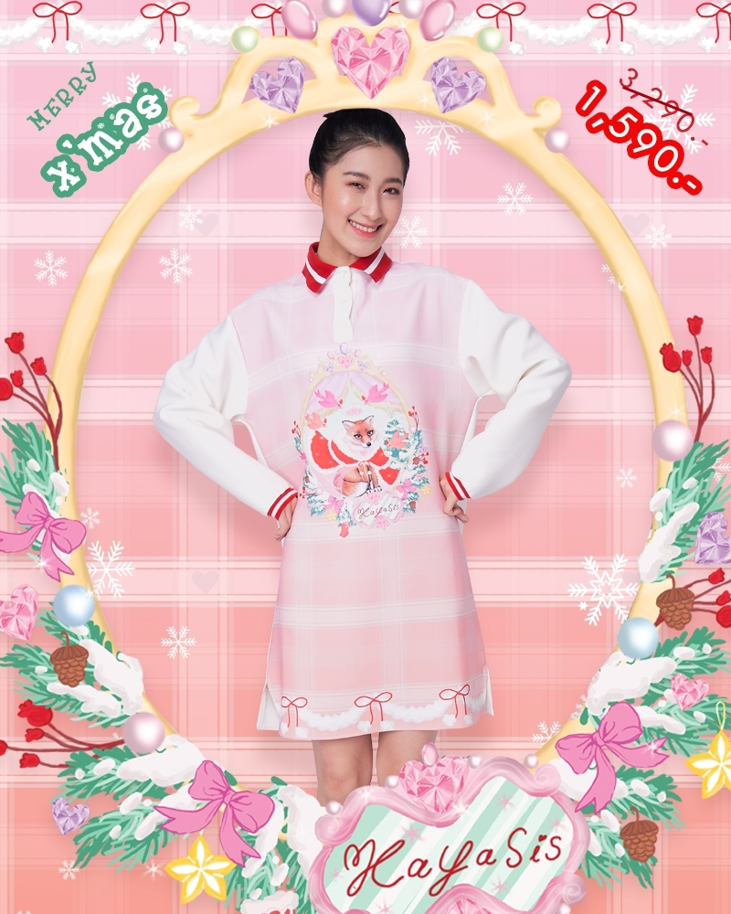 CM03 - Fox Santa Claus Christmas Polo Dress - Pink - In Stock Now