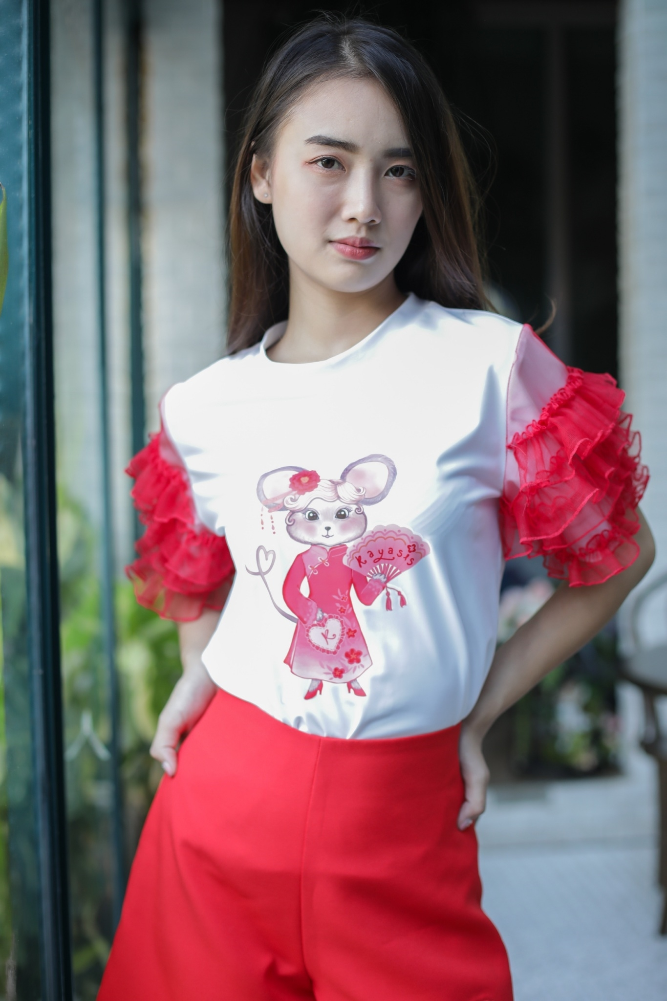 CN05 - The Chinese Mouse Ruffled Sleeve T Shirt - In Stock 12th Jan