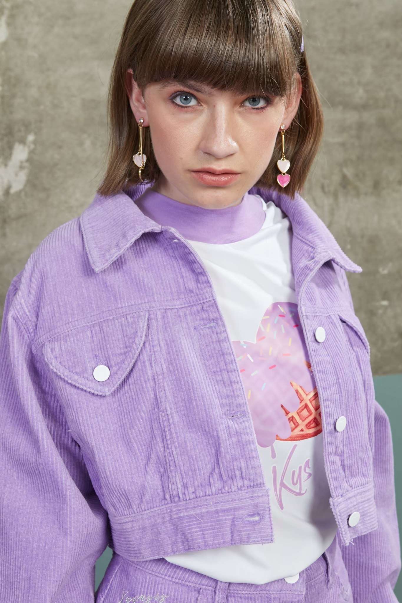 DM05 - Misty Lilac Corduroy Over-sized Jacket - In Stock Now