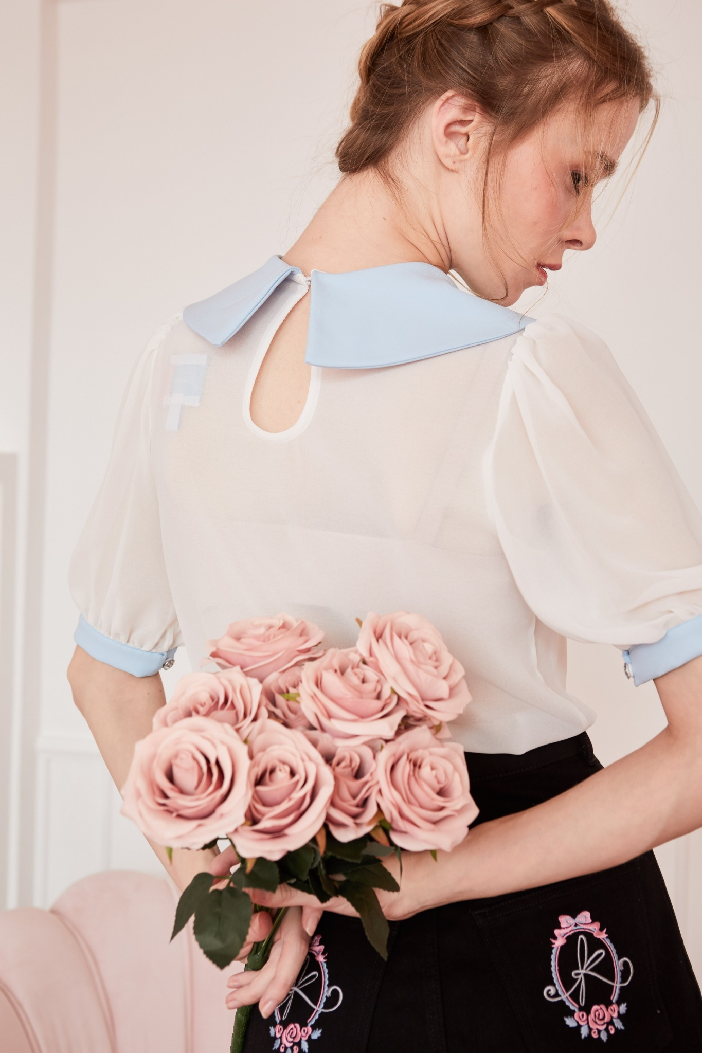 JR04-BLU- Juliet's Rose Embroidered Peter Pan Collar Blouse - In Stock 10th March