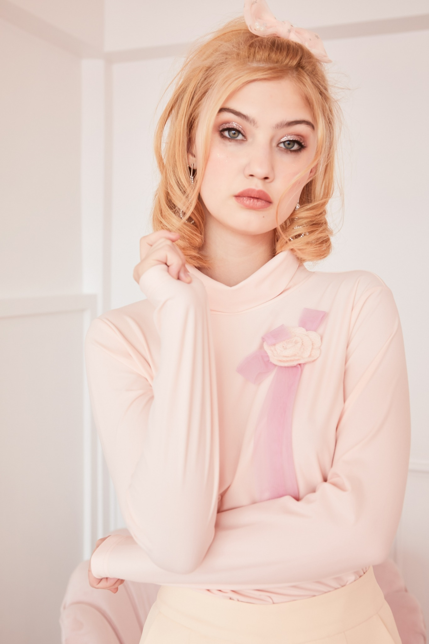 JR15 PNK - Juliet's Rose Turtleneck Thermal Long Sleeve T-Shirt - In Stock Now