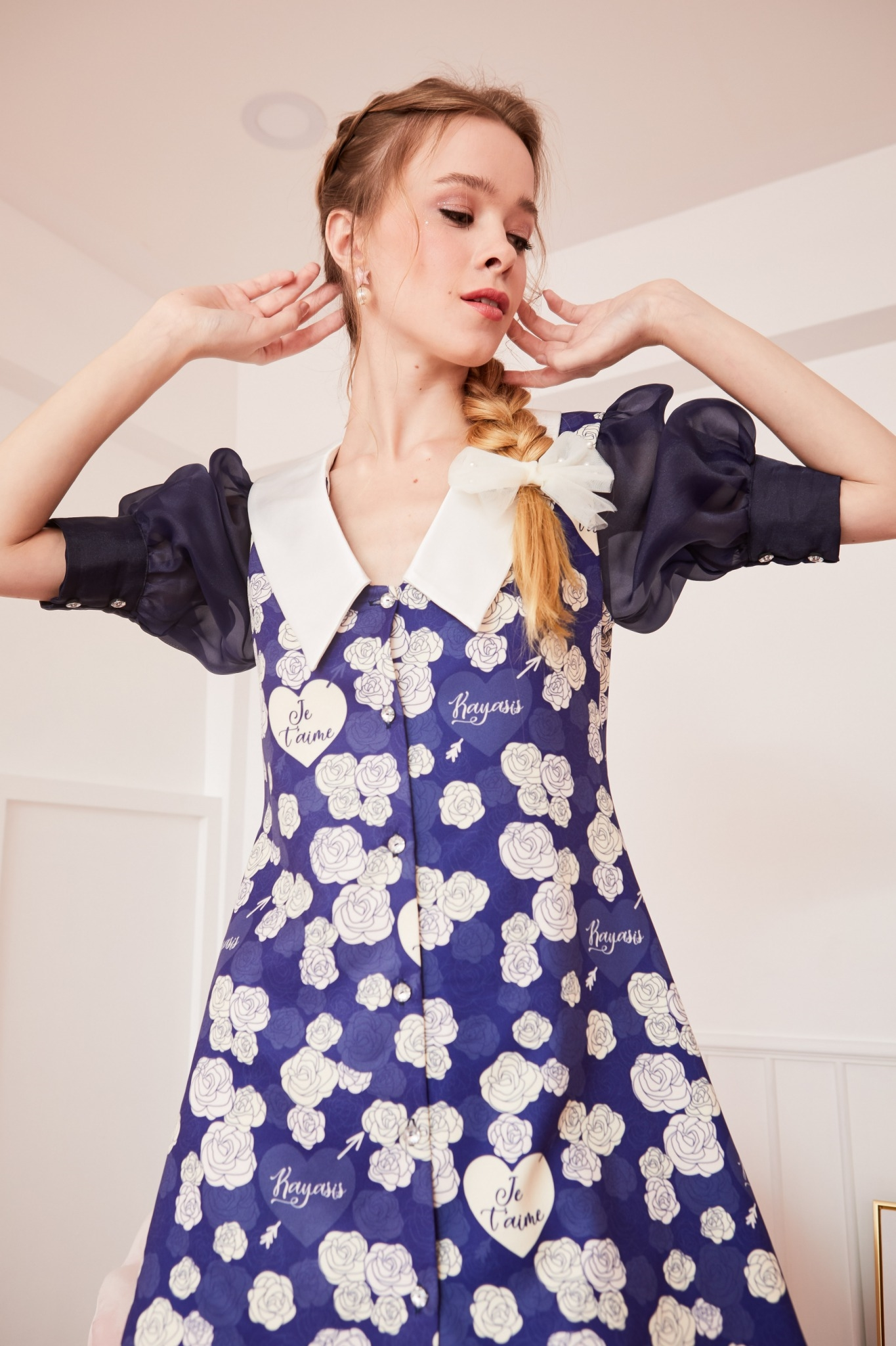 JR12 -  Juliet's Rose Classic Blue Puff Sleeve Dress - In Stock Now