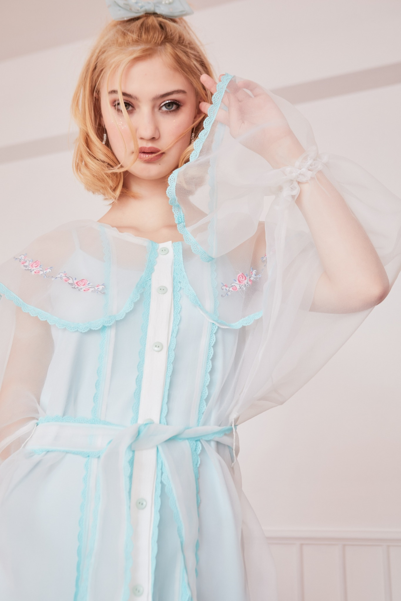 JR05 - Juliet's Rose Embroidered Collar Ruffle Dress - In Stock Now