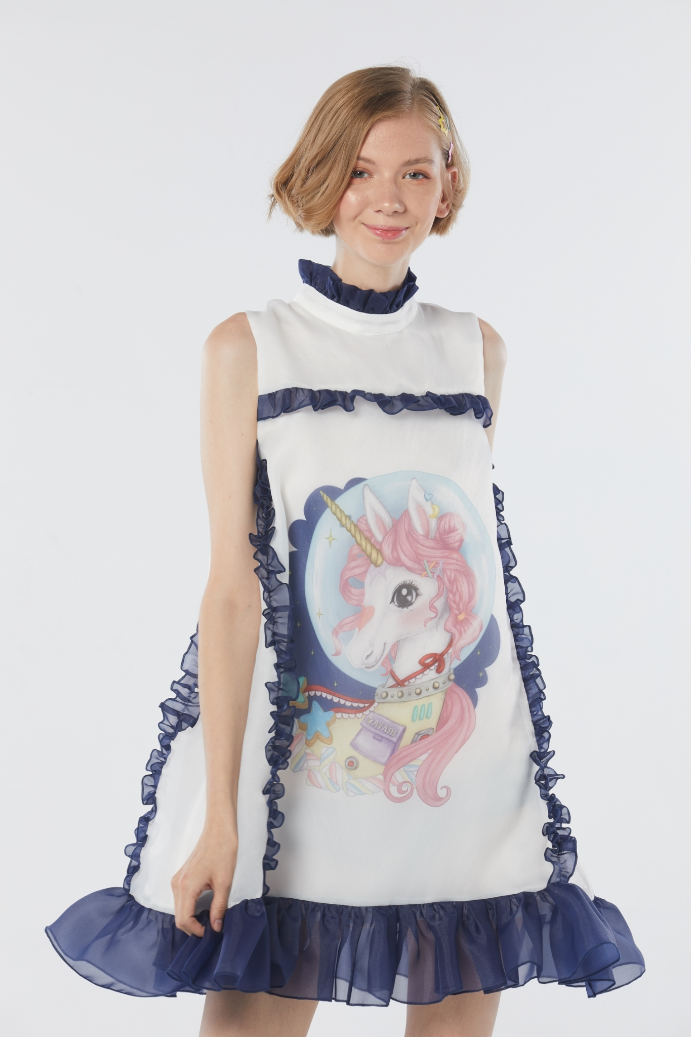KYS020 Freakin Majesty Unicorn Print Sleeveless Dress - In Stock Now