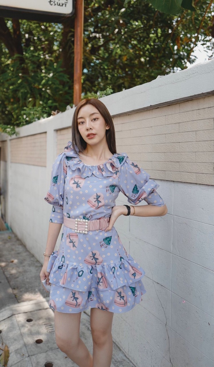 KYS027 - The Present Puff Sleeve Ruffle Dress with Belt - In Stock Now