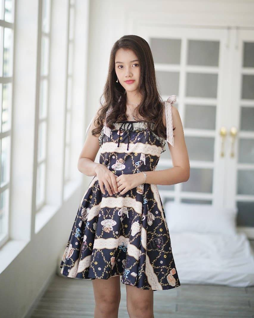 KYS045 TOASTIE PRINT BOW-TIED STRAPS DRESS - IN STOCK NOW