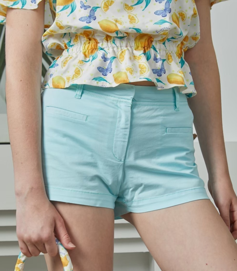 LMN12 - Turquoise Blue Women's Chino Shorts - In Stock 10th Jan