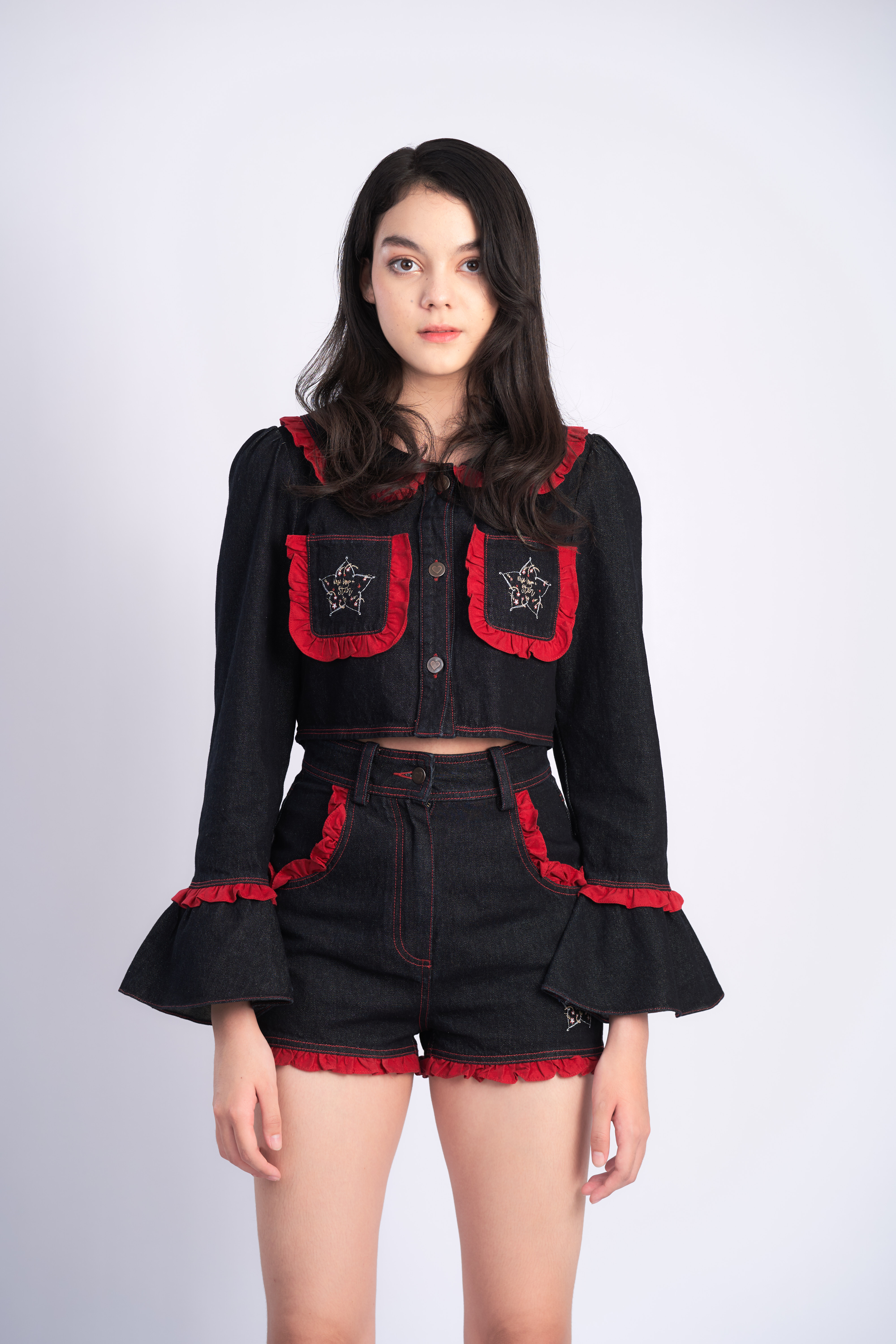 STR03 - WISH UPON A STAR DENIM EMBROIDERED JACKET - IN STOCK NOW