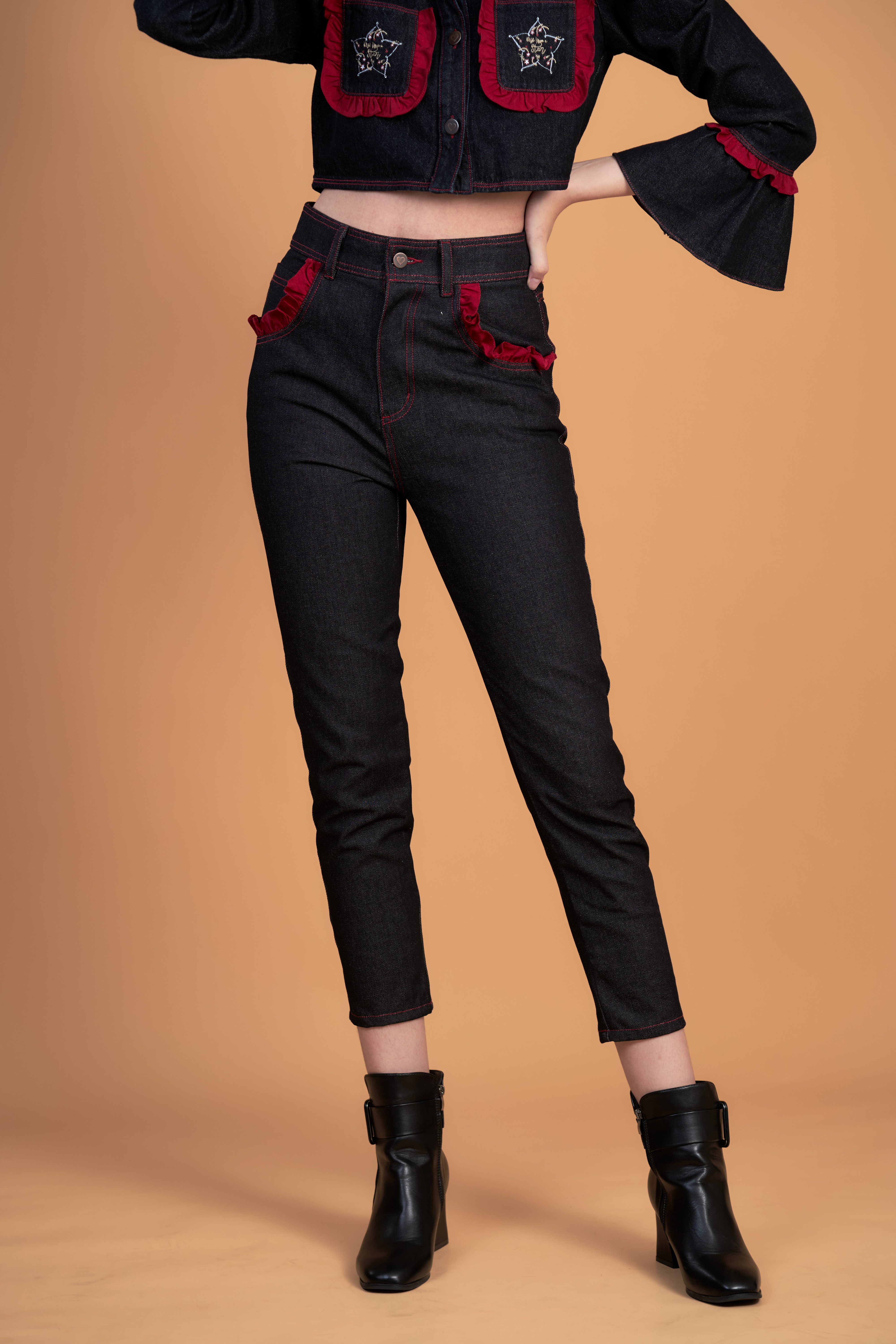 STR05 - WISH UPON A STAR DENIM EMBROIDERED PANTS - IN STOCK NOW